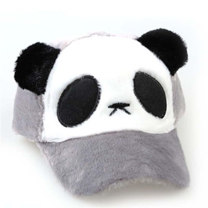 可爱宝宝熊猫帽子冬天男女童鸭舌帽棒球帽亲子帽儿童毛绒帽_灰色熊猫