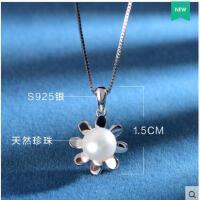 气质清新时尚挂坠百搭韩版锁骨太阳花天然珍珠项链925银饰 女