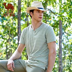 骆驼男装 2017年夏季新款圆领修身印花条纹日常休闲男士短袖T恤衫