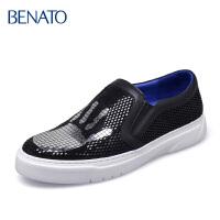 benato宾度男鞋休闲套脚 板鞋亮片年轻贴片潮流男士皮鞋