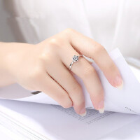 925纯银戒指 简约女学生潮人食指个性清新饰品关节指环大气  支持礼品卡支付