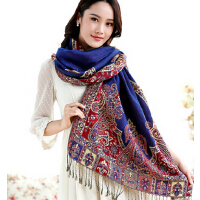 新款时尚女士复古民族风 大披肩空调两用 长款提花百变气质围巾
