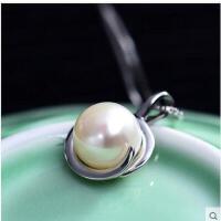 简单大方气质高贵锁骨配饰品吊坠牢固耐用天然珍珠925银项链 女