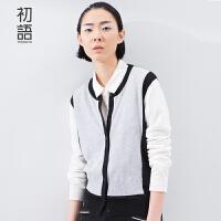 初语 春季新品 灰色撞色长袖开衫针织衫女8610413010