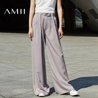 Amii2017春新款时尚百搭女王范宽松显高显瘦阔腿裤女长裤
