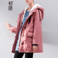 初语冬装新款棉衣棉服 女装大码显瘦外套 两件套棉袄女中长款8540822803