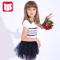 小猪班纳童装女童公主裙2017夏装新款儿童连衣裙女中大童短袖裙子