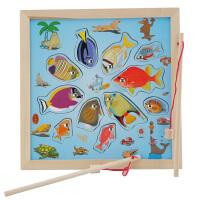 木制环保儿童钓鱼玩具磁性益智钓鱼小猫钓鱼双竿宝宝智力2-3岁