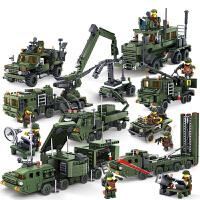 军事拼装积木玩具野战部队战舰变形导弹飞机男孩兼容乐高6-12岁