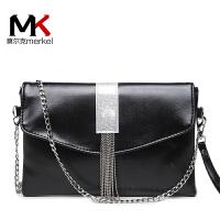 莫尔克(MERKEL)刘涛同款手包新款女士软皮流苏信封链条单肩手拿包时尚晚宴包包