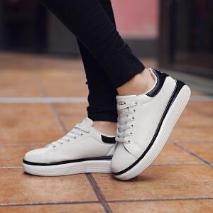 奇安达2017夏季新款女士白黑韩版系带休闲小白鞋百搭高底板鞋