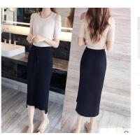 半身裙中长款韩版黑色a字裙裙子装包臀显瘦百搭针织 可礼品卡支付