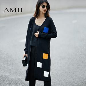 【预售】Amii2017春新撞色几何印花落肩长袖毛针织衫女11791328