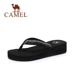 camel骆驼女拖鞋 夏季新款简约人字拖女 韩版百搭休闲坡跟拖鞋