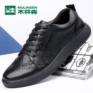 木林森休闲鞋男鞋秋季板鞋男透气男士运动鞋子男休闲皮鞋77053322