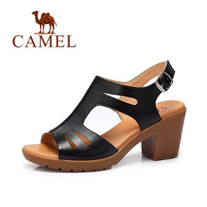 Camel/骆驼女鞋2017春夏新款 时尚皮带扣凉鞋休闲高跟女凉鞋