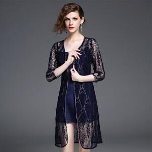 【当当年中庆】2017新款潮时尚蕾丝开衫百搭连衣裙两件套女