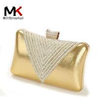 莫尔克(MERKEL)2017新款钻石水晶镶钻女晚宴包单肩斜挎链条小包水钻手拿新娘手抓包