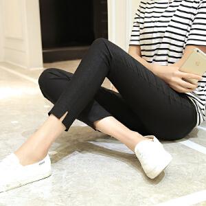 夏季薄款高腰百搭紧身弹力显瘦小脚铅笔裤开叉九分裤打底裤外穿女LB902