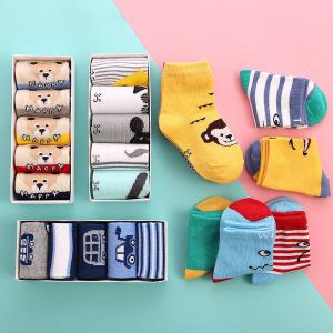 5双装 春夏季儿童礼盒袜全棉糖果色可爱卡通婴儿袜透气中筒宝宝袜子