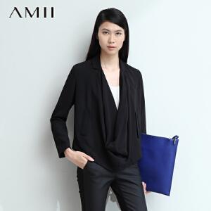 【AMII超级大牌日】[极简主义]2017春装新品小翻领雪纺西装纯色大码女式外套11490067