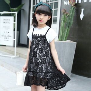 【当当年中庆】2017夏季童装女童蕾丝吊带裙短T套装两件套