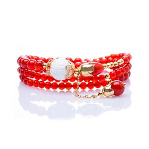芭法娜 在虹之巅  天然红玛瑙时尚百搭手链 可绕多圈 配白砗磲