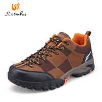 赛丹狐户外徒步鞋 男士春季新款防滑户外鞋低帮反绒轻便休闲鞋