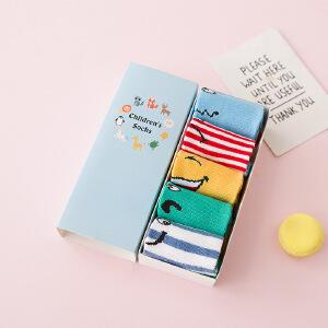 儿童袜子春夏薄款 精品短筒袜可爱卡通全棉宝宝短袜5双盒装