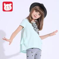 小猪班纳童装儿童短袖T恤女中大童夏季体恤2017新款女童半袖上衣