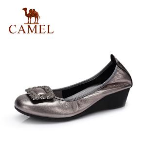 Camel/骆驼女鞋 2017新款 时尚休闲浅口单鞋 舒适坡跟女鞋