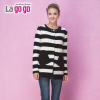 【当当女装盛典 5折价52.5元】lagogo拉谷谷 冬季条纹中长款针织衫4DK666C218