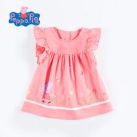 小猪佩奇正版授权童装夏季新品女童夏季公主衬衫裙短袖上衣中长款