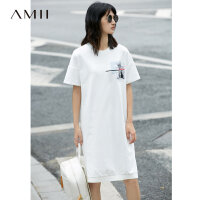 Amii[极简主义]2017夏装新品休闲宽松落肩短袖印花连衣裙11732202