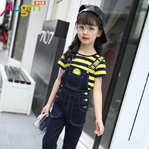 奥戈曼 女童夏季2017新款套装韩版儿童潮衣牛仔背带裤两件套童装条纹短袖