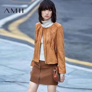 【AMII超级大牌日】[极简主义]2017年春女新品纯色麂皮绒长袖修身短外套11693229