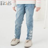 初语童装 冬装新款 女童牛仔裤 中大童休闲百搭长裤 T5318150012