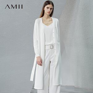 【预售】Amii2017春新大码开襟铆钉毛针织衫(配腰带)11741359