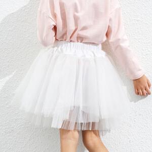amii童装2017春新款女童半身裙蛋糕裙蓬蓬裙中大童儿童网纱短裙