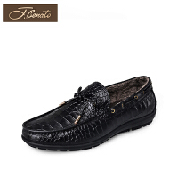 J.benato/宾度休闲鞋商场同款套脚低跟休闲皮鞋保暖圆头