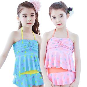 【泳衣建议对照体重拍大一点哦】KK树儿童泳衣夏季女孩分体游泳衣中大童女童防晒公主裙式可爱泳装