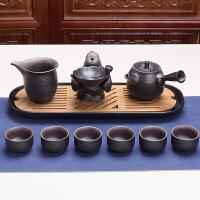 思故轩整套禅风黑陶茶盘茶具套装�\色复古陶土功夫茶具茶壶茶杯套组