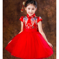 新款花童婚纱蓬蓬裙儿童礼服裙长袖 女童公主裙钢琴演出服旗袍