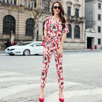 桑蚕丝连体裤2017新款韩版系带短袖修身真丝时尚套装女夏