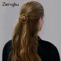 韩国圆圈发夹 女士头饰品大号夹子镀金色宽发夹边夹顶夹欧美发饰