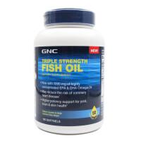 美国GNC健安喜 深海鱼油软胶囊调节三高降血糖欧米伽3EPA 1000mg120粒  保质期到17年11月左右