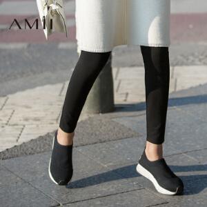 【AMII超级大牌日】[极简主义] 2017年春新弹力修身显瘦黑色外穿打底裤薄款长裤女