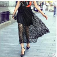 舒适松紧腰薄款透气甜美气质百搭蕾丝长裙黑色高腰半身裙个性网纱半身裙