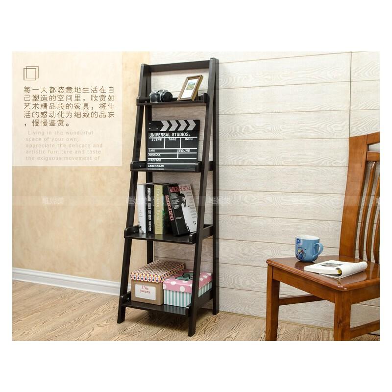 空大简约电视墙多功能角落地装饰置物架四层搁板书架子梯形收纳花架