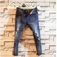 新款韩版潮流修身潮男时尚9分牛仔裤子男士牛仔九分裤